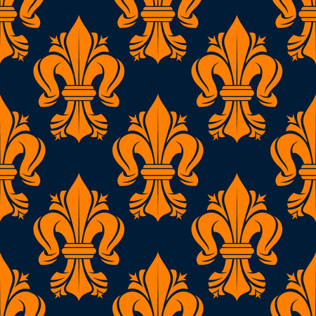 lys: Bright orange victorian fleur-de-lis pattern with seamless motif of leaf scrolls compositions decorated by flourishes on dark blue background. Use as vintage fabric print or interior accessories design