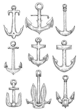 flukes: Naval anchorage devices isolated sketch icons of fisherman anchors with tiny flukes, admiralty anchors with curved arms and navy stockless anchors with raised broad flukes Illustration