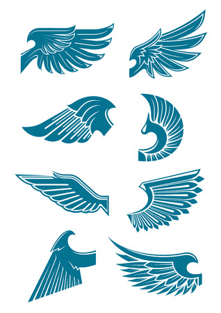 wings bird: Blue wings heraldic symbols for tattoo, t-shirt print or emblem design with angel or bird wings with long and stiff flight feathers and curved shoulders