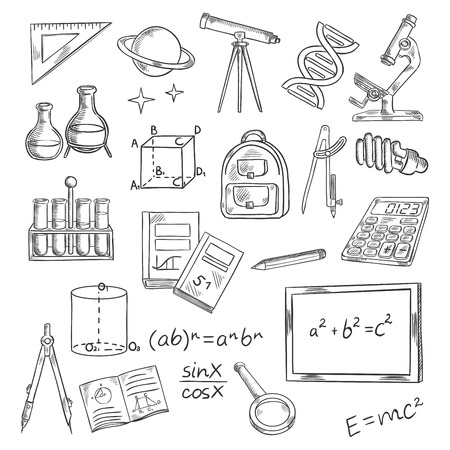 light classroom: Education and knowledge themed sketch symbols of blackboard with formulas, books and notebooks, pen and ruler, calculator, microscope and telescope, laboratory tubes and flasks, DNA and planet with stars, backpack and light bulb, magnifier and compasses