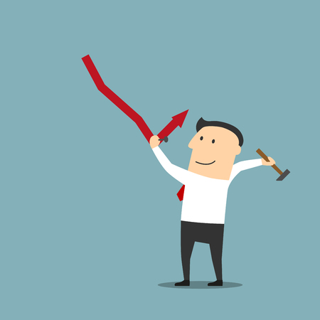 crisis management: Crisis management, adjustment and control concept design. Smart cartoon businessman fixing decreasing financial graph with hammer and nails