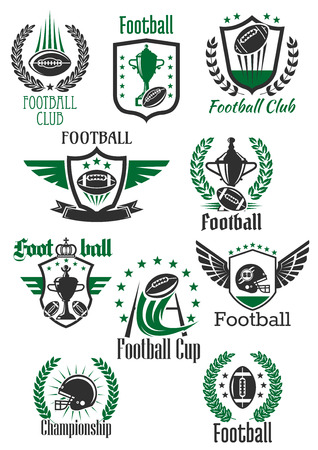 American football balls and helmets, champion trophy cups and gate symbols for sporting club, team and championship design framed by winged and crowned shields, heraldic wreaths and ribbon banners with stars