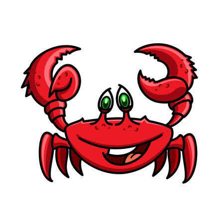 red animal: Smiling cartoon ocean red crab is running with raised claws. Childish stylized marine crustacean animal character for wildlife theme or book design