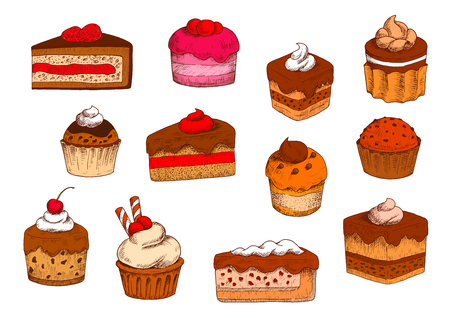 fillings: Chocolate and fruity tiered cakes, petits fours and cakes, cupcakes and muffins, cheesecakes and custard pies sketches with buttercream and jam, berry and chocolate fillings, topped with fresh fruits, whipped cream and wafer tubes. Sketch style