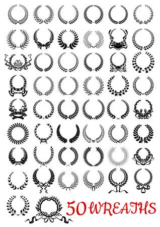 Guirnaldas de flores iconos negros decorativos para el uso del diseño heráldico y de felicitación con ramas y hojas o árboles y hierbas, flores y espigas de trigo, adornado con remolinos de cintas y lazos Ilustración de vector
