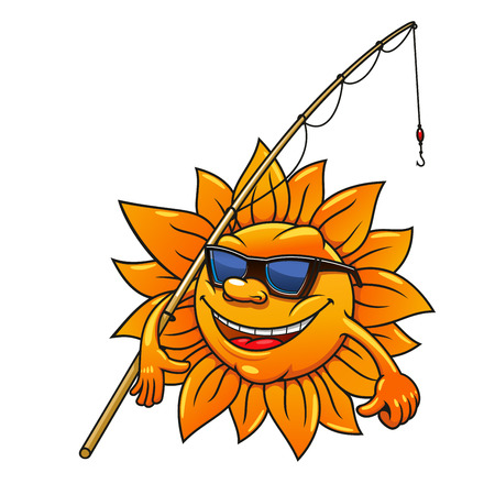 at leisure: Happy smiling cartoon sun character in sunglasses going to fishing with bamboo fishing rod. Great for leisure activity symbol or summer season mascot design usage