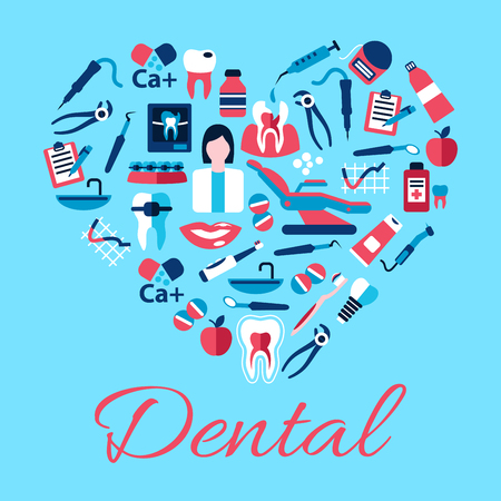 carious: Dentist with tools and equipments symbols arranged into a shape of a heart with flat icons of healthy and carious teeth, pills and syringes, toothbrushes and toothpastes, implant, braces and floss, clipboards, vitamins and apples Illustration