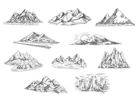 sunsets: Sketched mountain landscapes icons for hiking tourism, adventure and nature themes design with rocky mountain ridges and summits, sunsets over hills and tower rocks, mountain valleys with dangerous roads and fast rivers