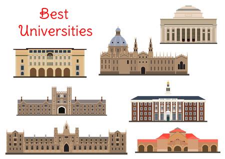 Nationale universiteiten gebouwen icons Stock Illustratie