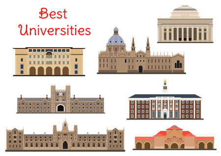 National universities buildings icons Illustration