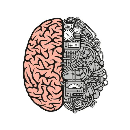 詳細な解剖学的人間の大脳皮質と右半球と別のデバイスと機器のデータ処理センターとして脳機械漫画記号  イラスト・ベクター素材