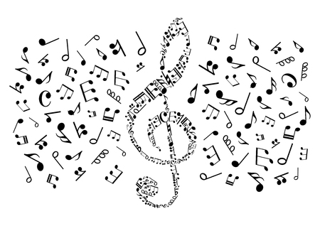 music symbol: Decorative music symbol of treble clef compounded of musical notes and rests of different durations, bass clefs and various marks of musical notation. May be use as music themed t-shirt print or entertainment design