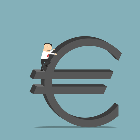 conquering: Purposeful cartoon businessman is conquering a large sign of euro currency as symbol of financial success and wealth. Use as business concept for career growth and richness design