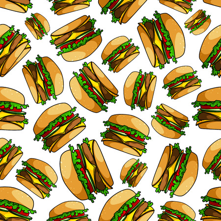 ground beef: Seamless double cheeseburgers pattern background of fast food sandwiches with ground beef patty, fresh tomatoes, cucumbers and lettuce, slices of swiss and cheddar cheese
