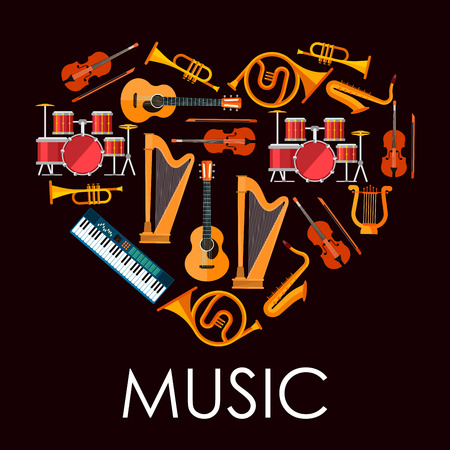 lyre: Love music heart icon made up of flat icons of musical instruments. Heart with acoustic guitars and drum kits, violins and saxophones, trumpets and horns, lyre, harps and synthesizer