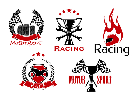 adorned: Motorsport, motorcycle and auto racing icons with wheels and trophy with racing flags, shield with motorcycle, winner cup with crossed spanners and flaming helmet, adorned by wreaths, stars and ribbon banners