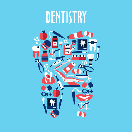 oral hygiene: Healthy tooth made up of dentistry and oral hygiene flat symbols with toothbrushes and toothpastes, carious teeth, braces and implants, dentist instruments and equipments, dental floss and mouthwashes, x-ray, clipboards, vitamins and apples