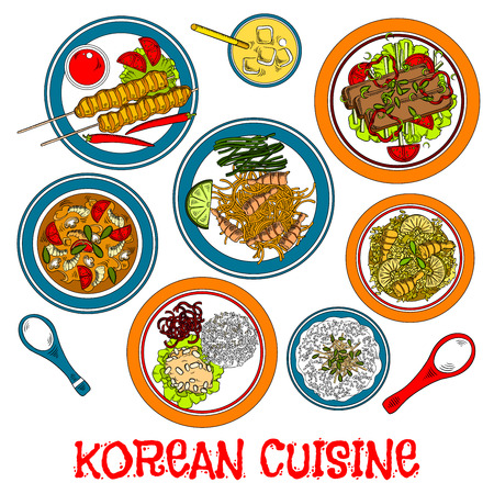 Traditional korean grilled meat on sticks and marinated beef bulgogi sketch icon served with various of fresh vegetables and fried rice with pineapple and shrimps, steamed rice and meat balls, seafood spicy soup and noodles, pear juice beverage with ice Illustration