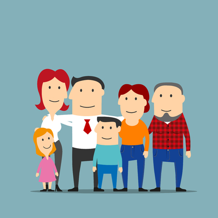 parenthood: Portrait of cartoon extended family with happy smiling father and mother, cute daughter, son and grandparents. Great for family, parenthood and marriage themes design usage Illustration