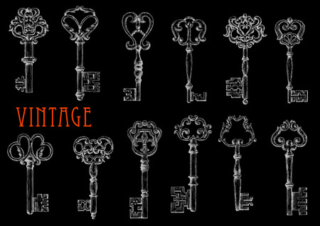 shafts: Vintage ornate keys chalk sketch drawings on blackboard with ornamental decorated bows and shafts. May be use as fashion or embellishment design or security and safety concept Illustration
