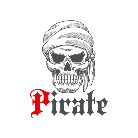 pirates flag design: Dead pirate tattoo symbol with sketched evil human skull wearing bandana with scary empty eye sockets. Great for t-shirt print or piracy mascot design Illustration