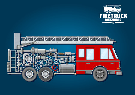 crankshaft: Fire truck mechanics symbol of fire engine with red cabin, telescopic turntable ladder on the roof and car body composed of wheels, fuel tank and suspension system, crankshaft and bearings, axle, absorbers and valve handwheels Illustration