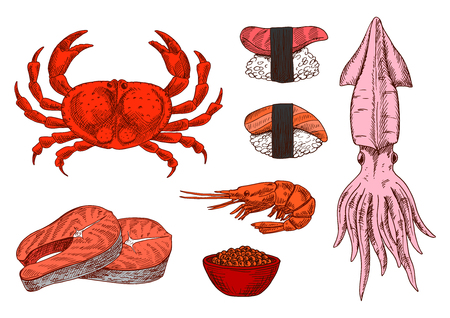 oriental cuisine: Colored sketched seafood symbols for mediterranean and oriental cuisine design with juicy salmon steaks and shrimp, sushi nigiri topped with marinated salmon and tuna, steamed crab, squid and salted red caviar