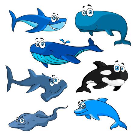 pez martillo: sonriendo animales divertidos del mar con personajes de dibujos animados de color azul, de Groenlandia y orcas, arrecife y tiburones martillo, delfines feliz y Raya. tema de la fauna submarina o diseño de la mascota zoológico