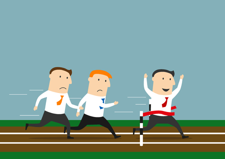 rivalry: Successful cartoon businessman crossed the finish line to take first place leaving his rivals behind. Business competitions, leadership and rivalry theme design