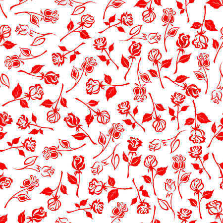 dainty: Seamless floral pattern of dainty blooming flowers of red summer roses on white background. May be use as textile print or interior accessories design