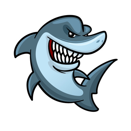 carnivorous: Cartoon hungry shark is jumping out the water for hunting. Funny carnivorous marine animal character for underwater wildlife mascot or t-shirt print design usage