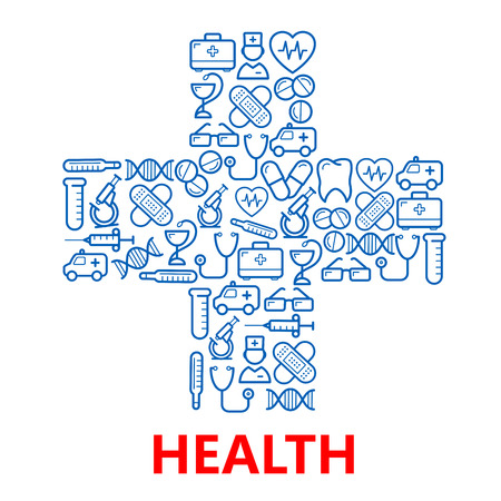 kits: Blue medical hospital cross symbol with outlined icons of doctors and ambulances, pills and stethoscopes, microscopes, test tubes, hearts, tooth and DNA, first aid kits and syringe, glasses, plasters and thermometers