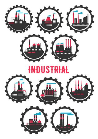 petrochemical: Industrial plants flat symbols framed by gear wheels with chemical, mechanical, manufacturing and petrochemical plants infrastructure elements. Heavy industry symbol, ecology and industrial tourism design usage Illustration