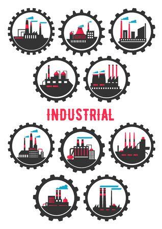 infraestructura: Plantas industriales símbolos planos enmarcados por las ruedas de engranaje con elementos químicos, mecánicos, manufactura e infraestructura plantas petroquímicas. Símbolo de la industria pesada, la ecología y el uso del diseño turismo industrial