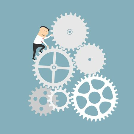 mechanism: Business process and financial mechanism concept design. Businessman is turning a gear system. Cartoon style Illustration