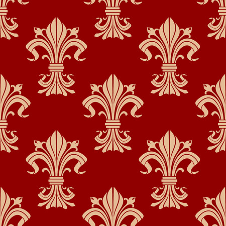 Vintage seamless pattern of decorative fleur-de-lis ornament with beige heraldic lily flowers with buds and victorian leaf scrolls on red background. Use as royal heraldry theme or interior design Illustration