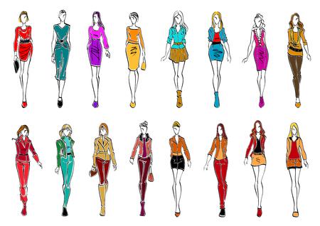 Kolorowe szkic sylwetki młodych kobiet noszących modne ubrania. modelki prezentujące eleganckie suknie biurowych i przypadkowych stroje do codziennego stylu. Temat handlowe lub branży projektowania mody Ilustracje wektorowe
