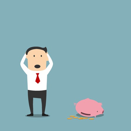penniless: Frustrated cartoon bankrupt businessman is standing with empty piggy bank and clutching head in shock. Bankruptcy, poverty and insolvency concept design usage Illustration