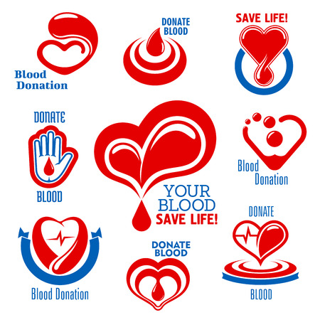 transfuse: Bright red hearts icons with drops of blood, heartbeat graphs and open palm, supplemented by ribbon banners and captions Blood Donation. Use as medical charity, blood donor or healthcare themes design