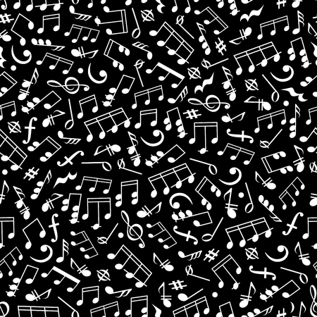 arts symbols: Seamless white silhouettes of musical notes and symbols pattern over black background with various of notes and rests, bass and treble clefs. Music and arts concept design