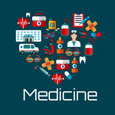 Gezond hart symbool voor de gezondheidszorg concept of medische diensten ontwerp met vlakke pictogrammen van arts, ziekenhuis en ambulance, bloedzakken, harten, pillen, tanden en DNA, injectiespuiten, EHBO-kits en microscoop, glazen, pleisters en medische test klemborden