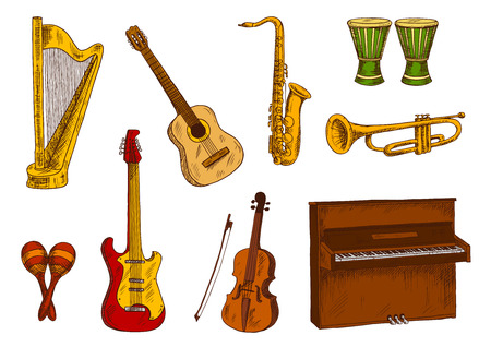 brass: Retro colored sketches of saxophone and trumpet, acoustic and electric guitars, violin, piano and harp, african conga drums and mexican maracas. Ethnic and classic musical instruments for music concert and entertainment design Illustration