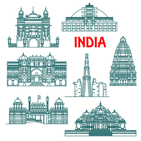 Tourist attractions and national architectural heritage of India thin line icons for travel design with Qutub Minar, Buddhist Stupa at Sanchi, Red Fort, Harmandir Sahib or Golden Temple, Virupaksha Temple in Hampi and Akshardham Temple