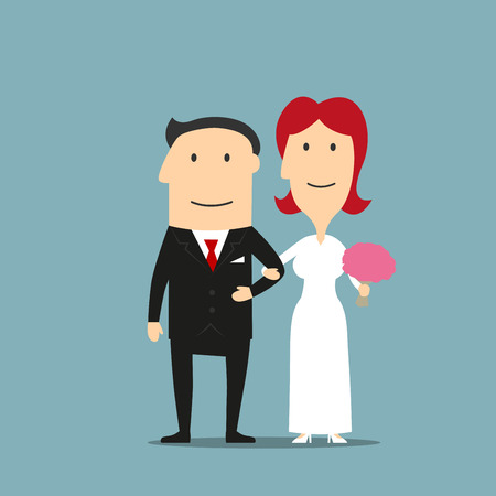 bridal salon: Happy smiling cartoon newly married couple are standing arm in arm. Lovely redhead bride in white wedding dress with flowers in hand and elegant groom in black tuxedo. Great for wedding ceremony, invitation or bridal salon design usage