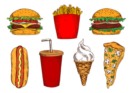 vanilla ice cream: Vegetarian pizza with mushrooms and cheese sketch icon served with fast food hamburger, cheeseburger and hot dog sandwiches, french fries, takeaway cup of soda and vanilla ice cream cone