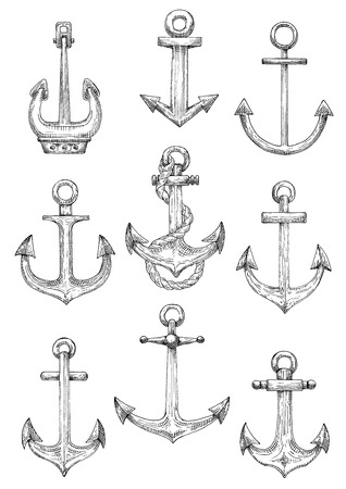 fluke: Vintage engraving sketches of nautical ships anchors with twisted rope. Use as navy heraldry, marine themed tattoo and yacht club design