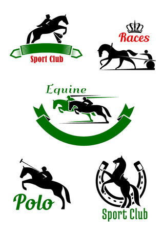 tourney: Equestrian sporting symbols with black and green silhouettes of running, jumping and rearing up horses with riders and two wheeled cart decorated by horseshoe, ribbon banners and crown