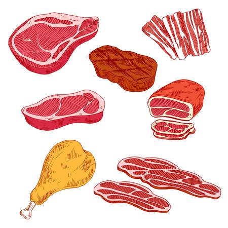 carnes frescas y carne a la parrilla, rodajas delgadas de tocino y jamón al horno, solomillo de ternera y pavo iconos de dibujo pierna. productos cárnicos nutritivos y saludables para grill bar o el diseño carnicería