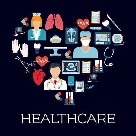 Medische dienst en chirurgie symbolen in een vorm van een hart met vlakke pictogrammen van de arts, tandarts en chirurg, operatietafel en instrumenten, hart, longen en tand implantaat, stethoscoop, bloeddruk en ecg monitors, medicijnen, reageerbuisjes, x ray en ult