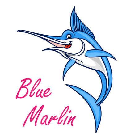 marline: Atlantic blue marlin cartoon symbol of game fish with long, lethal spear shaped upper jaw. Sporting fishing emblem or oriental seafood design usage